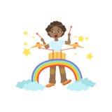 Jongen het Spelen Trommels met Regenboog en Wolkendecoratie Royalty-vrije Stock Fotografie