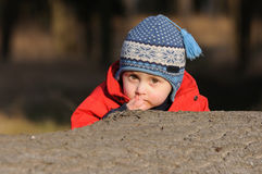 Jongen het verbergen achter boomstam Royalty-vrije Stock Foto's