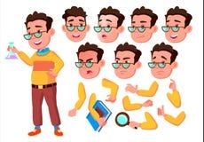 Jongen, Kind, Jong geitje, Tienervector schooler jong Gezichtsemoties, Diverse Gebaren De Reeks van de animatieverwezenlijking Ge stock illustratie