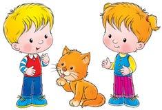 Jongen, meisje en kat Royalty-vrije Stock Afbeeldingen