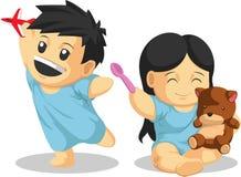 Jongen & Meisjespatiënt die gezond spelen vector illustratie