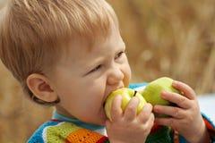 Jongen met appelen Royalty-vrije Stock Foto