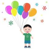 Jongen met ballons Stock Fotografie