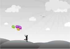 Jongen met Baloons stock illustratie