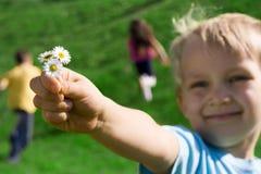 Jongen met bloemen Royalty-vrije Stock Afbeelding