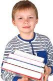 Jongen met boeken Stock Foto's
