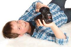Jongen met camera Stock Foto