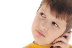 jongen met celtelefoon Royalty-vrije Stock Foto