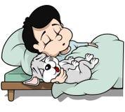 Jongen met de Slaap van de Puppyhond stock illustratie