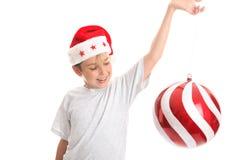 Jongen met de snuisterij van Kerstmis Royalty-vrije Stock Foto's