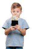 Jongen met dollars Stock Afbeelding