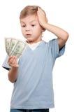 Jongen met dollars Stock Afbeeldingen