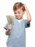 Jongen met dollars Royalty-vrije Stock Afbeeldingen