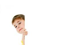 Jongen met een banner Stock Foto