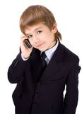Jongen met een mobiele telefoon stock fotografie