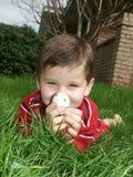 Jongen met eieren 5 Royalty-vrije Stock Foto's