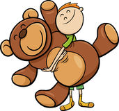 Jongen met groot teddy beeldverhaal royalty-vrije illustratie