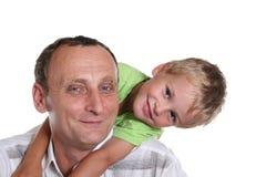 Jongen met grootvader Royalty-vrije Stock Afbeeldingen