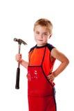 Jongen met hamer Royalty-vrije Stock Afbeeldingen