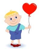 Jongen met hart-ballon Royalty-vrije Stock Foto's