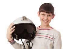 Jongen met helm op wit wordt geïsoleerd dat Royalty-vrije Stock Afbeelding