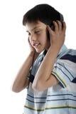 Jongen met hoofdtelefoon Royalty-vrije Stock Afbeelding