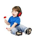 Jongen met hoofdtelefoons. Royalty-vrije Stock Afbeeldingen