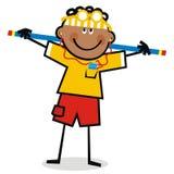 Jongen met hoofdtelefoons bij gymnastiek, grappige vectorillustratie Stock Fotografie