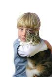 Jongen met kat Royalty-vrije Stock Foto's
