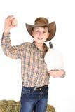 Jongen met kip en ei Royalty-vrije Stock Fotografie
