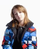 Jongen met Lang Haar in Kleurrijk Jasje Royalty-vrije Stock Afbeeldingen