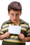 Jongen met lege kaart 1 stock afbeeldingen