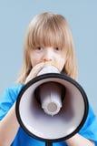 Jongen met megafoon Stock Foto's