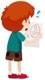 Jongen met nul score op papier stock illustratie