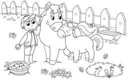 Jongen met paard en veulen Stock Afbeelding