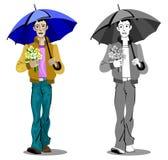 Jongen met paraplu en bloemen royalty-vrije illustratie