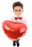 Jongen met rode ballon Stock Afbeeldingen