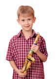 Jongen met saxofoon Stock Afbeelding
