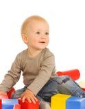 Jongen met speelgoed royalty-vrije stock afbeelding