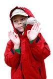 Jongen met stuk speelgoed lambkin stock foto's