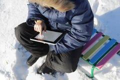 Jongen met tabletpc Stock Afbeeldingen