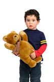 Jongen met teddy Stock Foto's