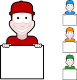 Jongen met teken Stock Afbeelding