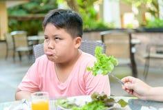 Jongen met uitdrukking van afschuw tegen groenten stock fotografie