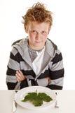 Jongen met vegetarisch diner Royalty-vrije Stock Foto