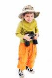 Jongen met verrekijkers Stock Afbeelding