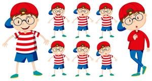 Jongen met verschillende emoties vector illustratie