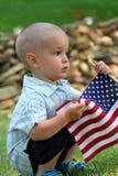 Jongen met Vlag Stock Foto's