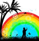 Jongen met vlieger onder regenboog Stock Afbeeldingen