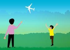Jongen met vliegtuig Stock Afbeeldingen